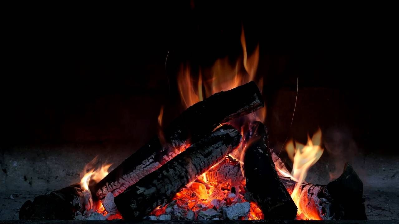 Fireplace Sounds Relaxing Fireplace Sound With Distant Thunder Wind Through The