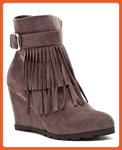 Lucienne Womens Fashion Fringed Wedge Booties