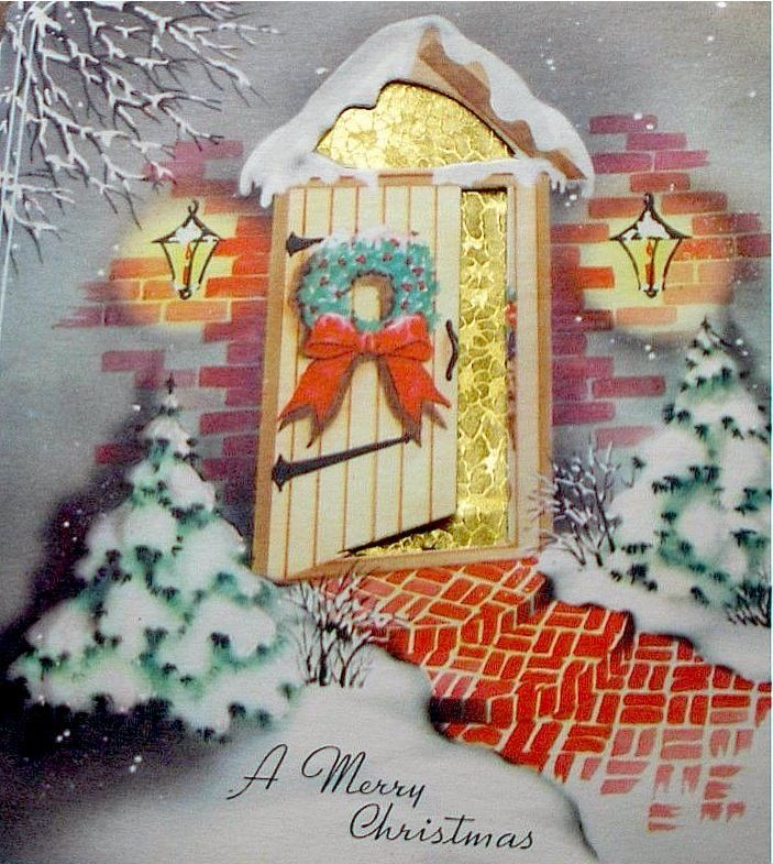 Antique Front Door Christmas Cards | Merry Christmas crib.