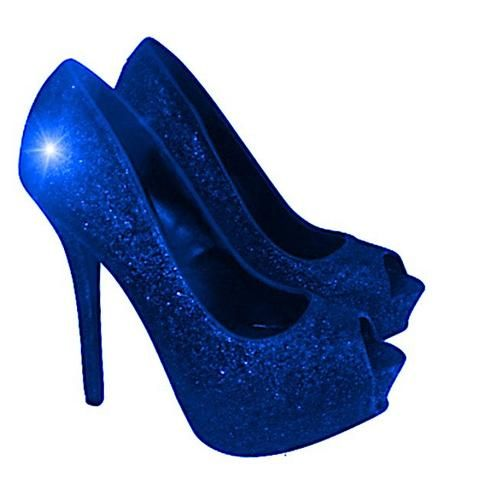 Women s Sparkly Royal Blue Glitter Peep Toe Pumps Heels Wedding bride shoes 6fa0afbed
