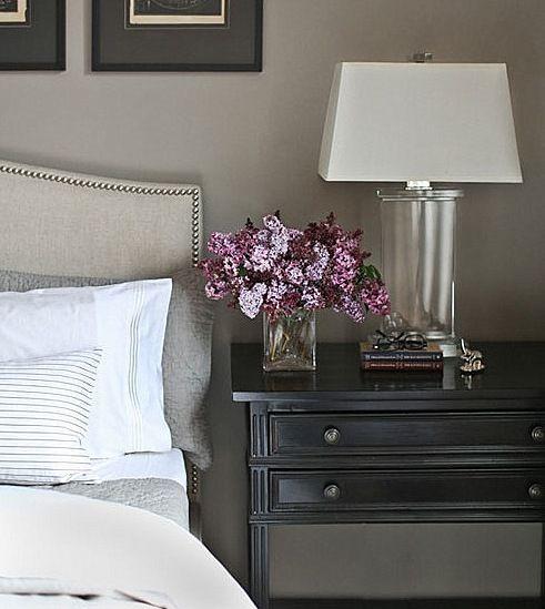 Beautiful Black Bedside Table Studded Headboard Classic Elegance