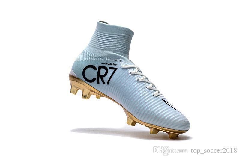 2019 2018 White Gold Cr7 Soccer Cleats