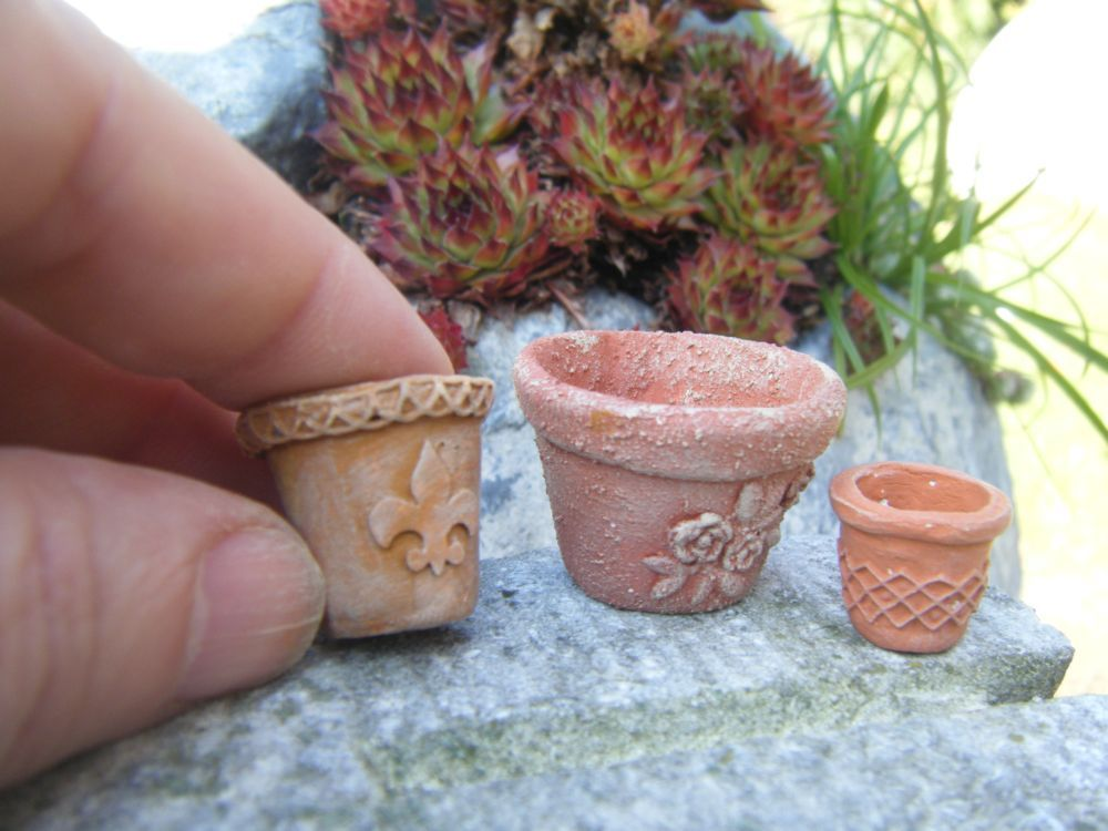 miniature flower pot tutorial miniatures pinterest. Black Bedroom Furniture Sets. Home Design Ideas