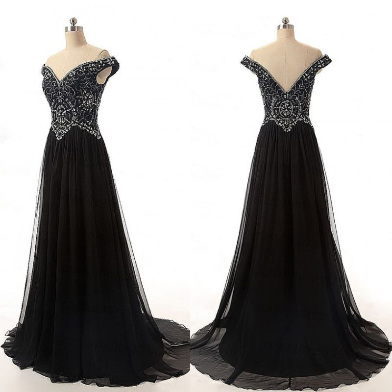 Bg1247 Charming Prom Dress,Off Shoulder Prom Dress,Black Evening ...