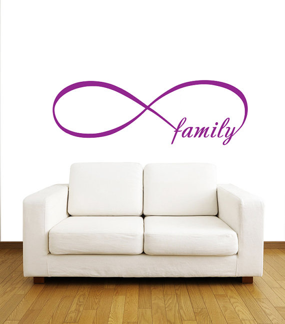 Items Similar To Family Infinity Symbol Bedroom Wall Decal Quote Vinyl Sticker Decals Mural Art Home Decor Loop Lettering V953