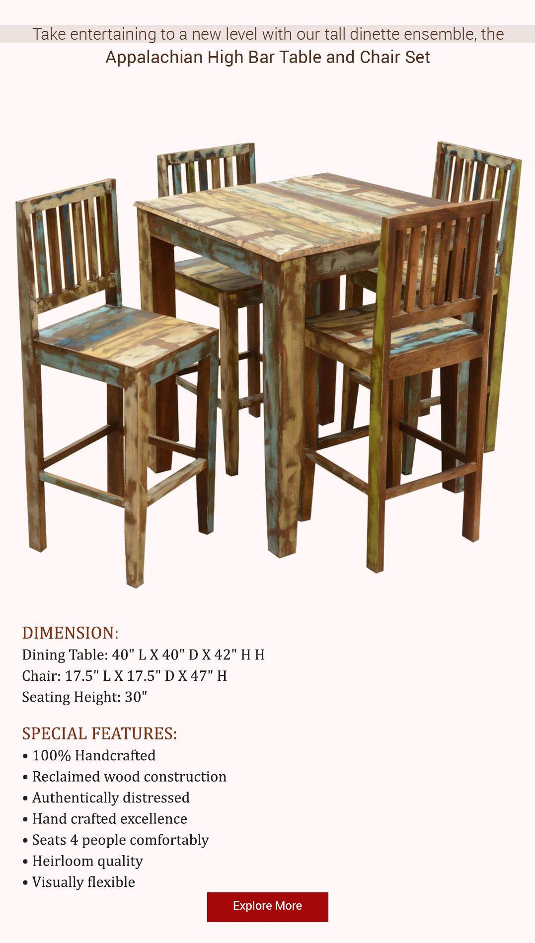 Appalachian Rustic Reclaimed Wood High Bar Table Chair Set Bar Table High Bar Table Rustic Solid Wood Dining Table Rustic high top table and chairs