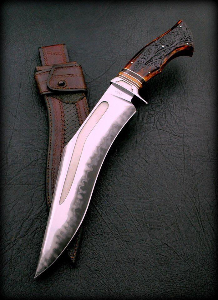 "CAS Sobral   Inspirational Kukri.  San Mai 420 / 1095 12"" Blade / 18"" Overall Stag horn handle"