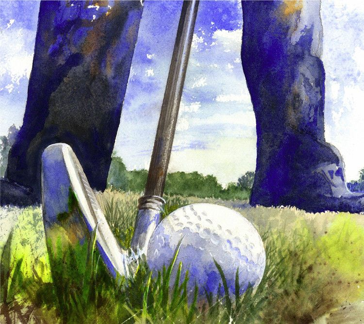 Fine art print watercolor golf painting giclee of golfer