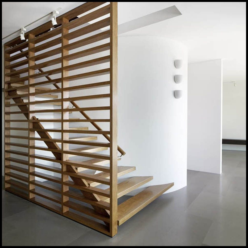 Interior Large Horizontal Railing Wooden Room Divider