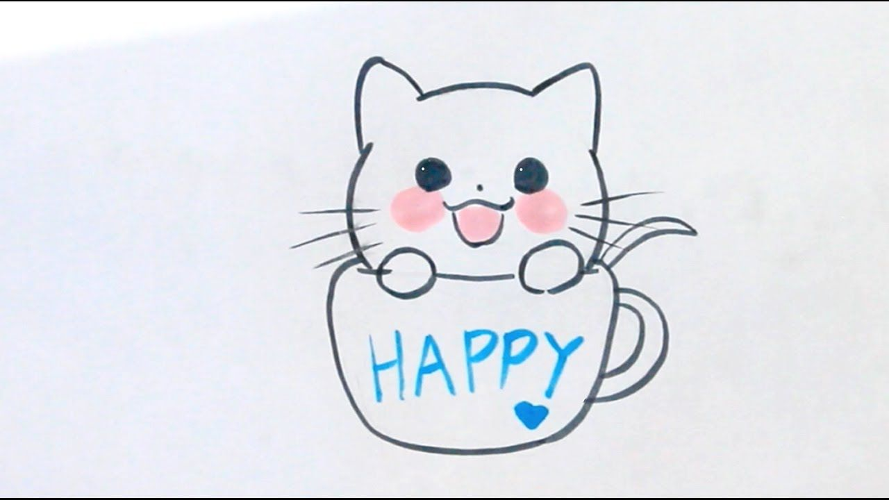 Comment dessiner un chaton kawaii dans une minuscule tasse de th how to draw en 2019 - Comment dessiner un chat facilement ...