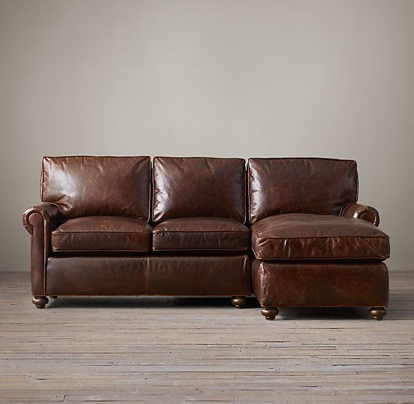 Petite Original Lancaster Leather Right-Arm Chaise Sectional | home ...