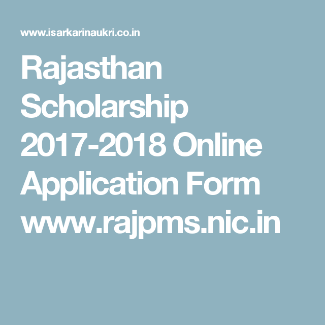 Rajasthan Scholarship  Online Application Form WwwRajpms