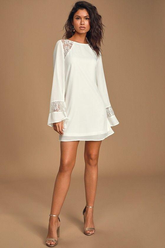 Better Than a Dream White Lace Long Sleeve Shift Dress