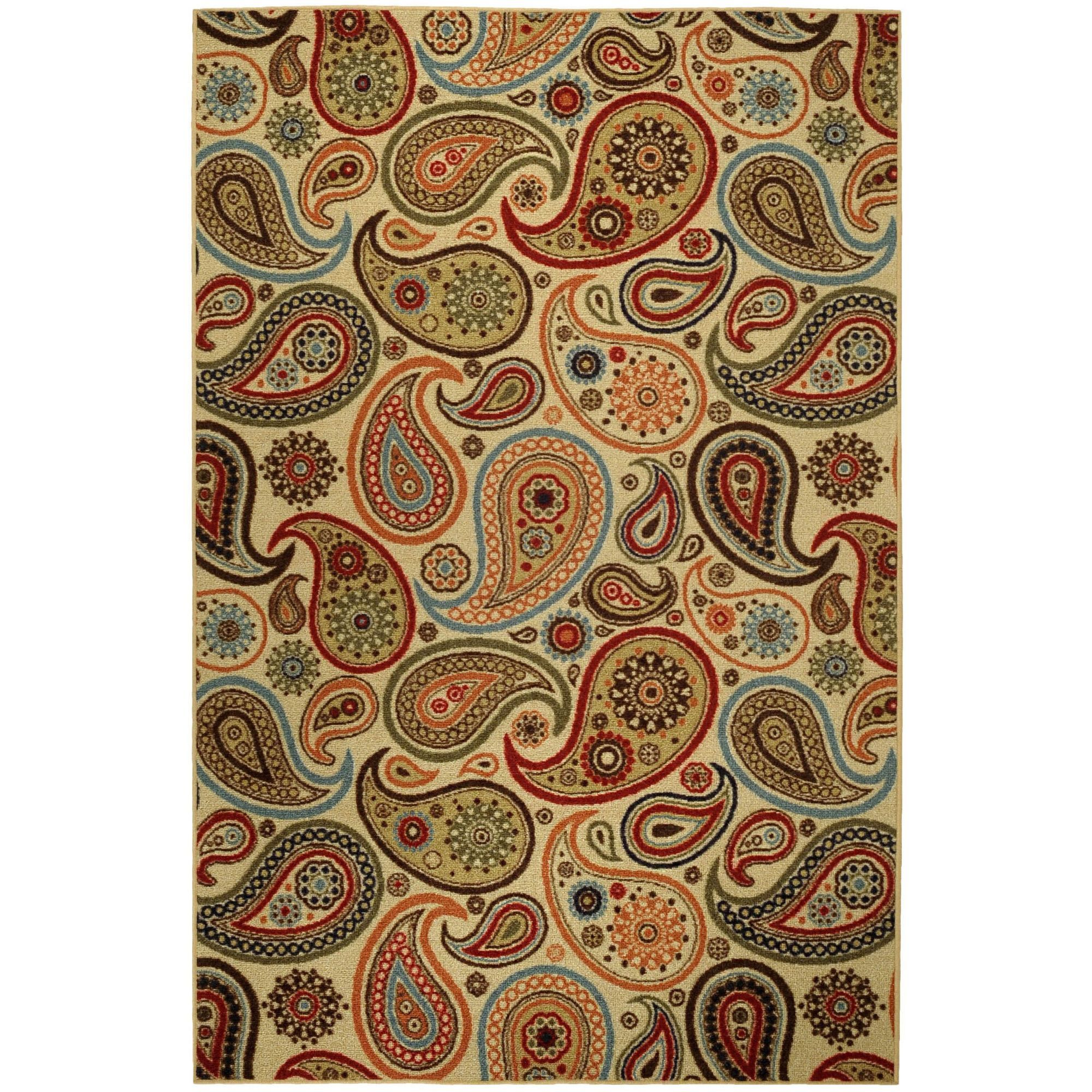 Rubber Back Ivory Paisley Floral Non Skid Area Rug 5 X 6 6 5012