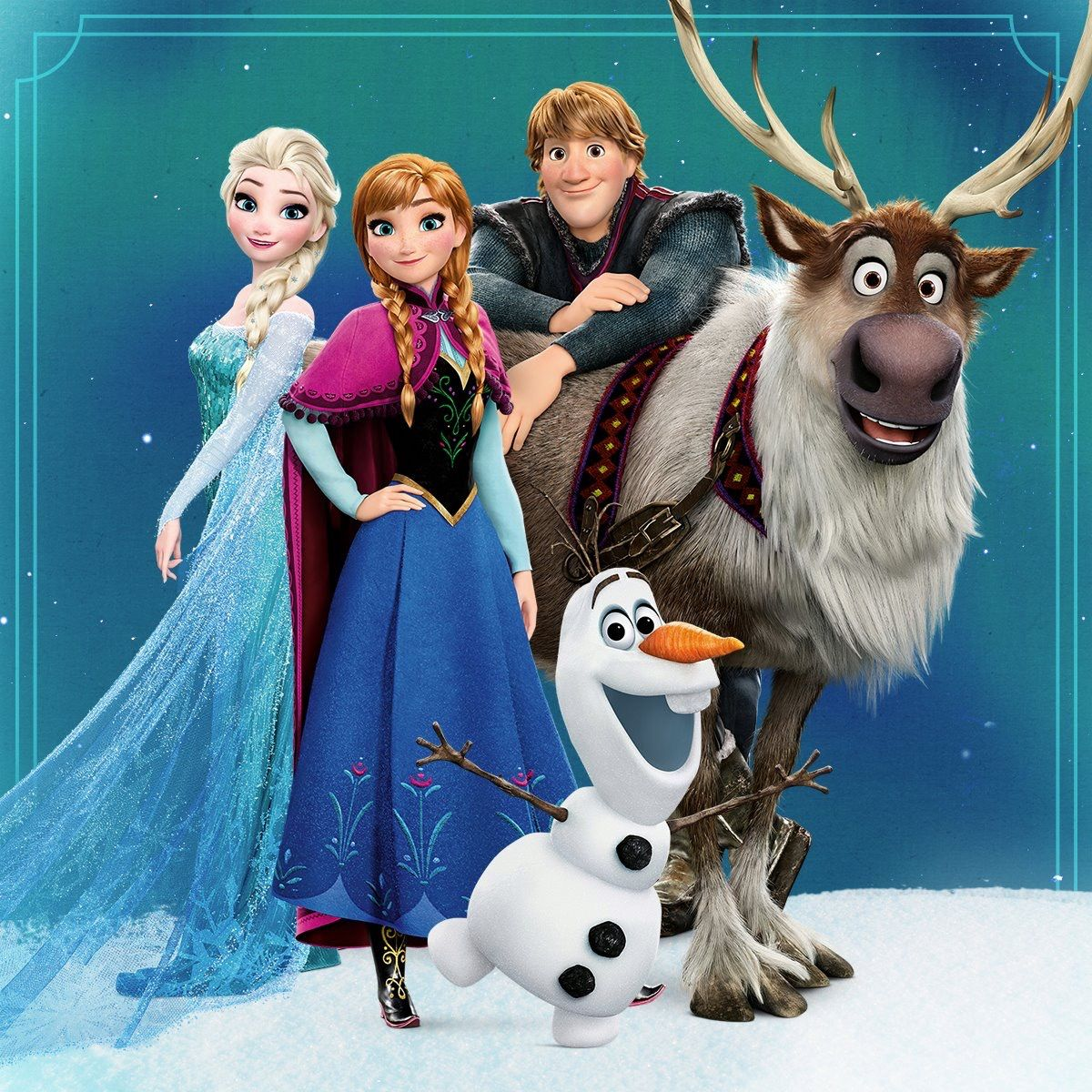 Elsa anna kristoff olaf and sven frozen journey to the northern lights frozen and disney - Princesse anna et elsa ...