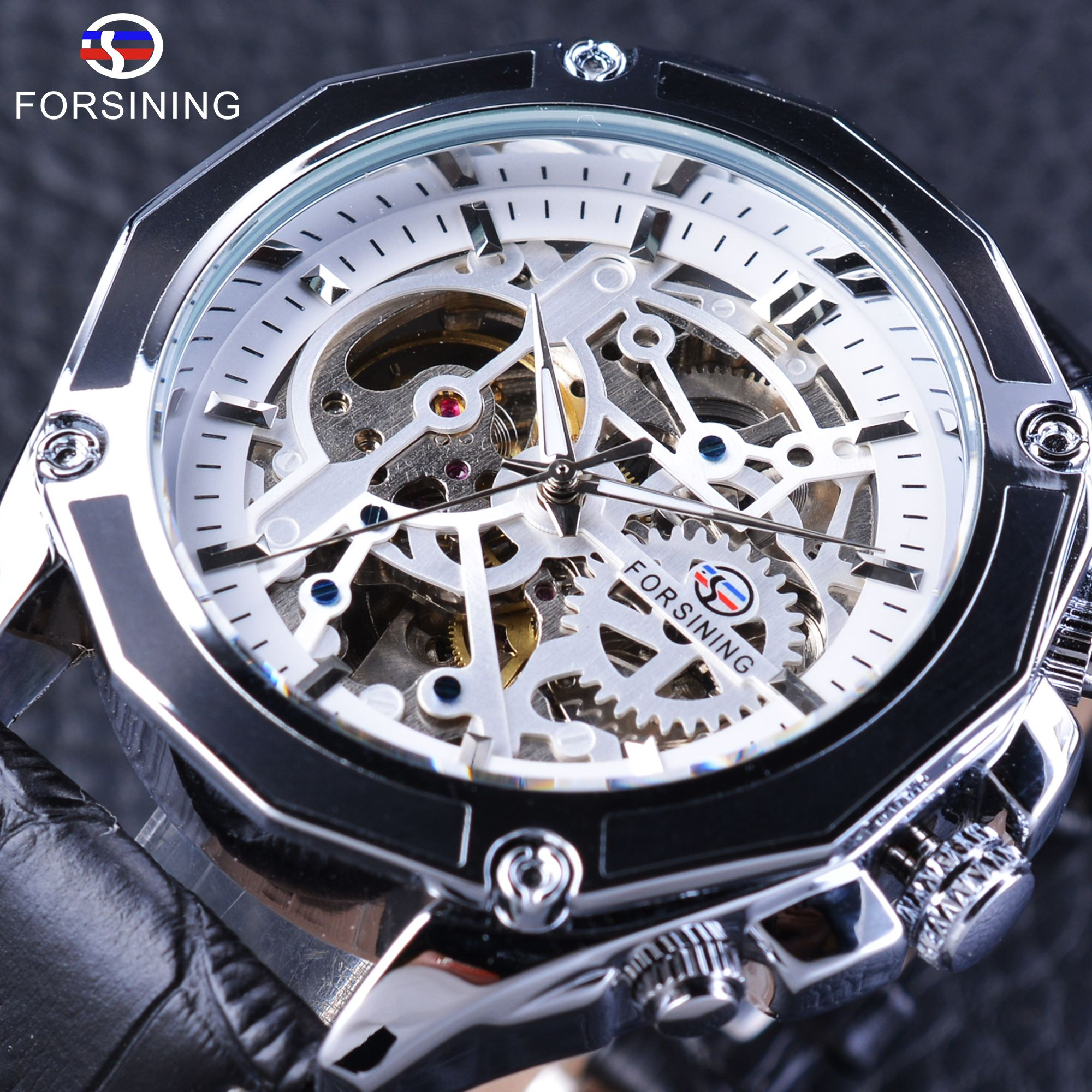 sport automatic mechanical watch skeleton transparent luxury golden wrist item watches top men brand classic from mens male forsining in