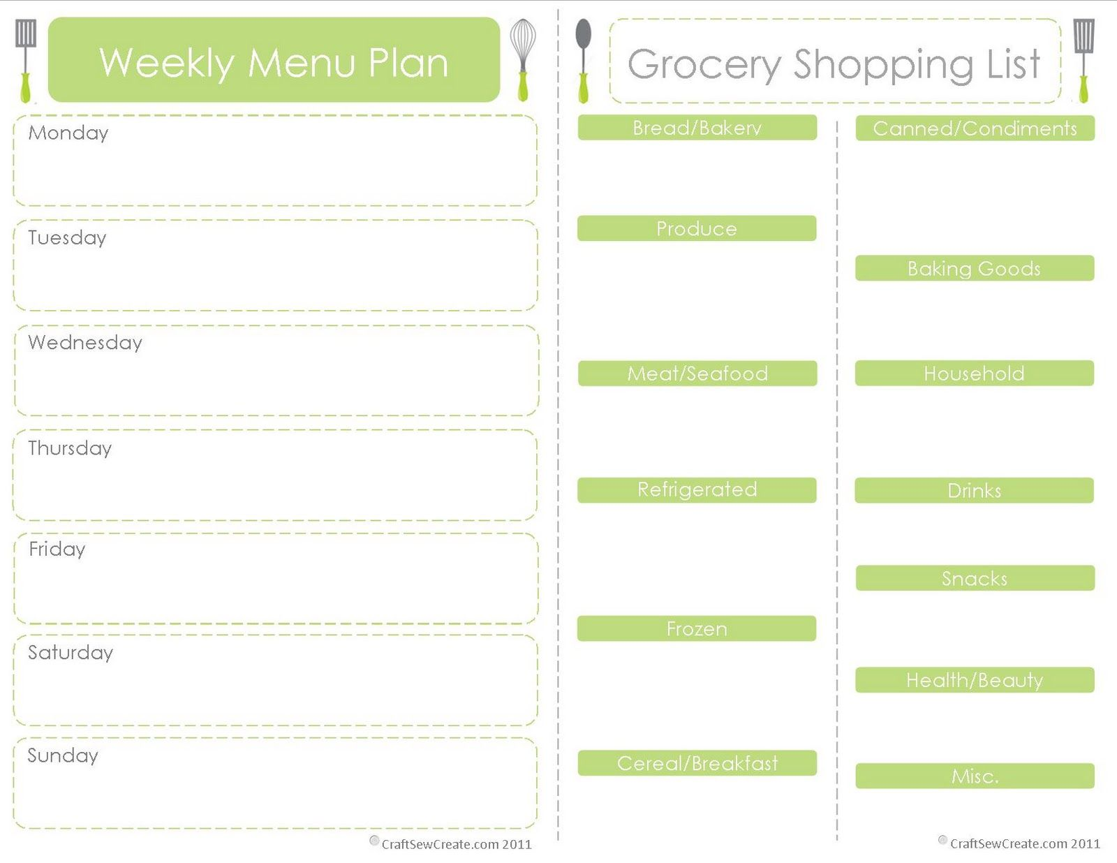 printable menu plan shopping list planning weekly meals saves