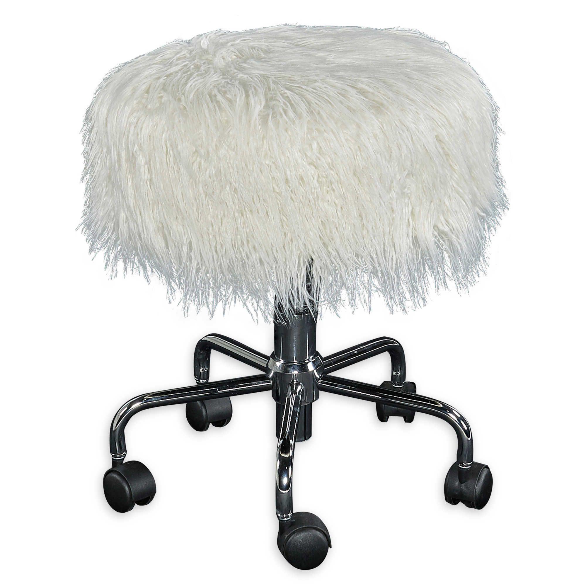 Ollie Faux Fur Rolling Swivel Stool In White Adjustable Stool