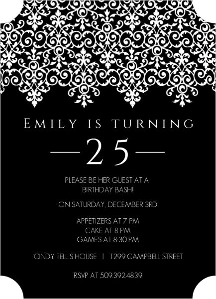 Coolnew 25th Birthday Invitations Ideas Elegant Birthday Invitations 25th Birthday Parties 21st Birthday Invitations
