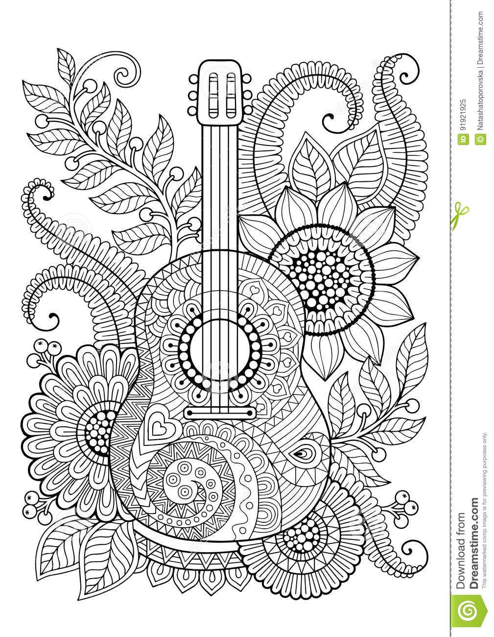 Illustration About Coloring Book For Adult And Relax Guitar And Flowers Illustration Of Coloring Ba Mandala Coloring Pages Coloring Books Mandala Design Art