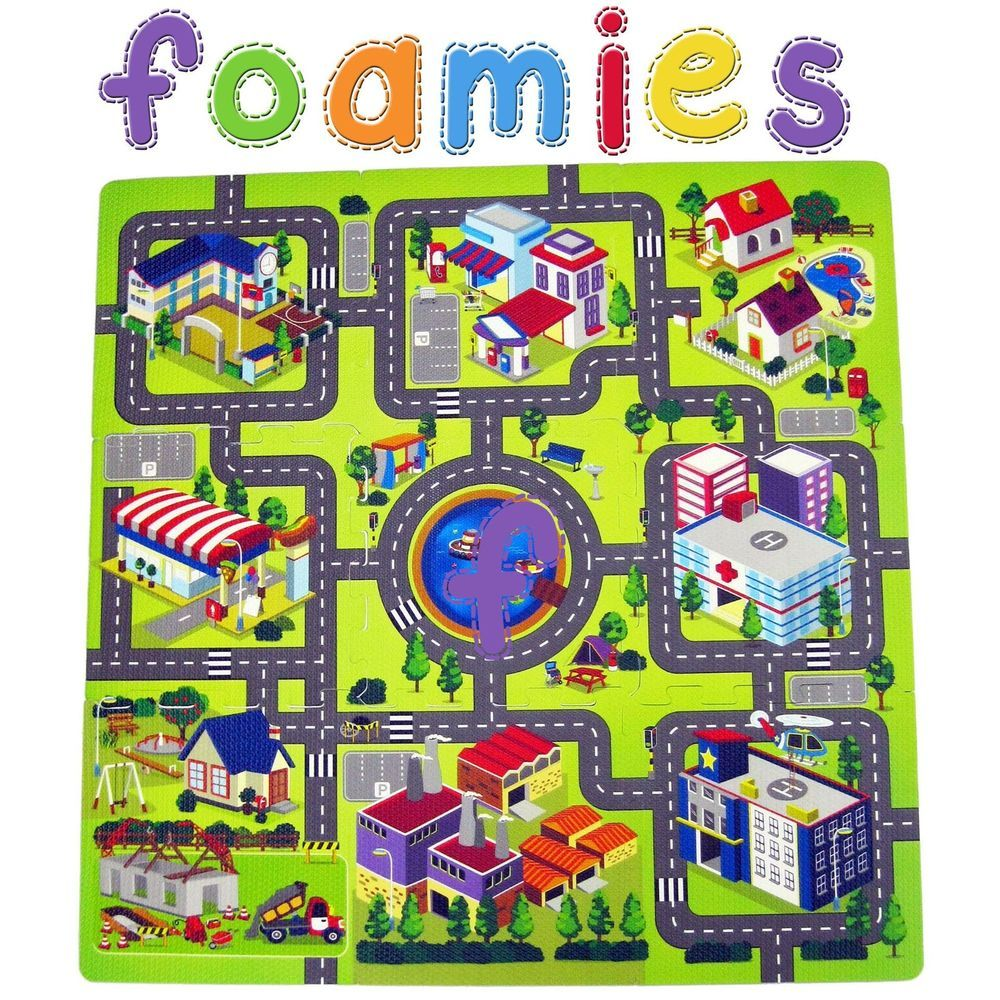 Bedroom Rugs Town Village City Road Map Activity Soft Foam Childrens Kids Baby Floor