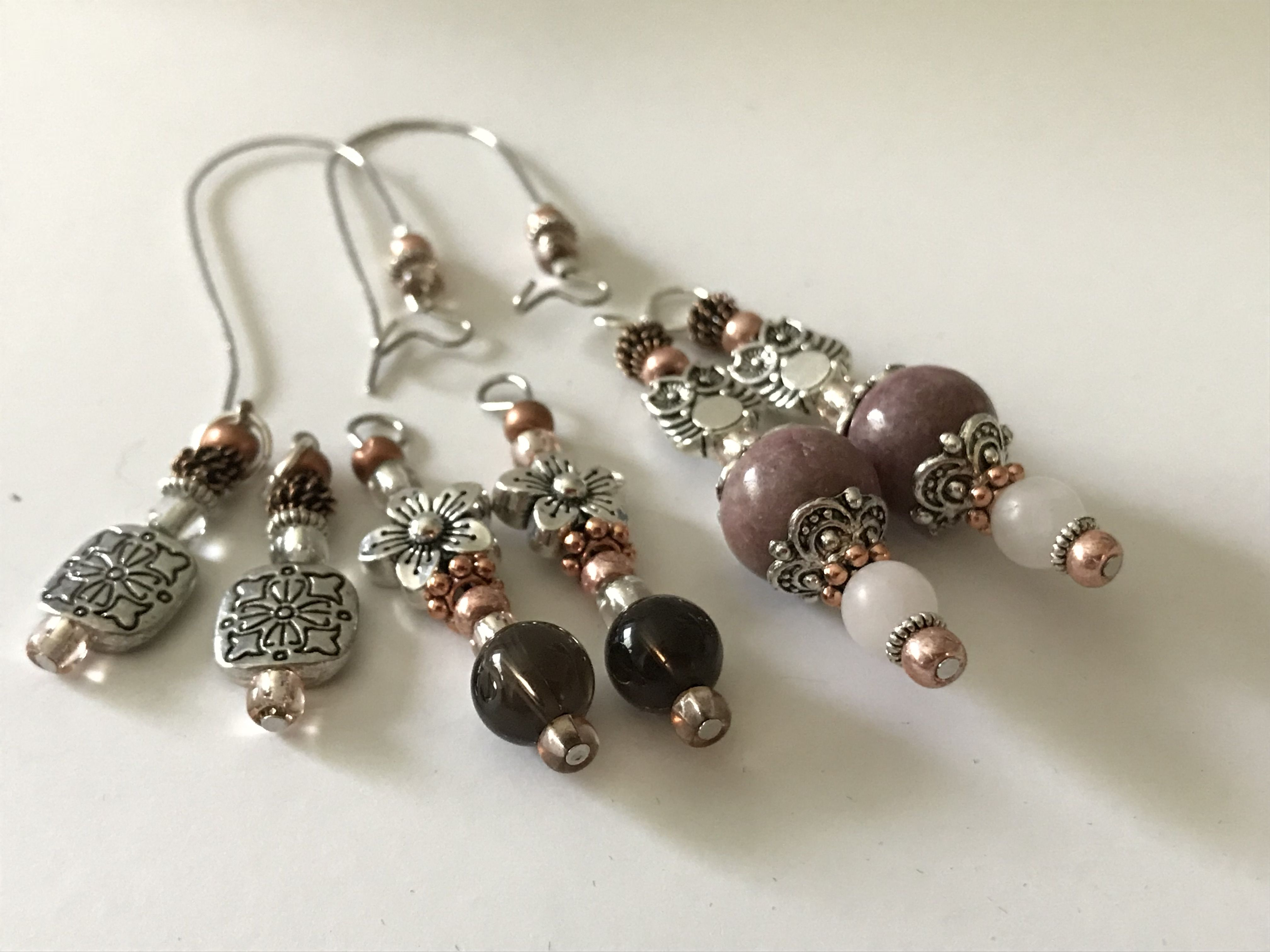 Three Pairs Of Earrings Interchangeable On Just One Beaded Closure
