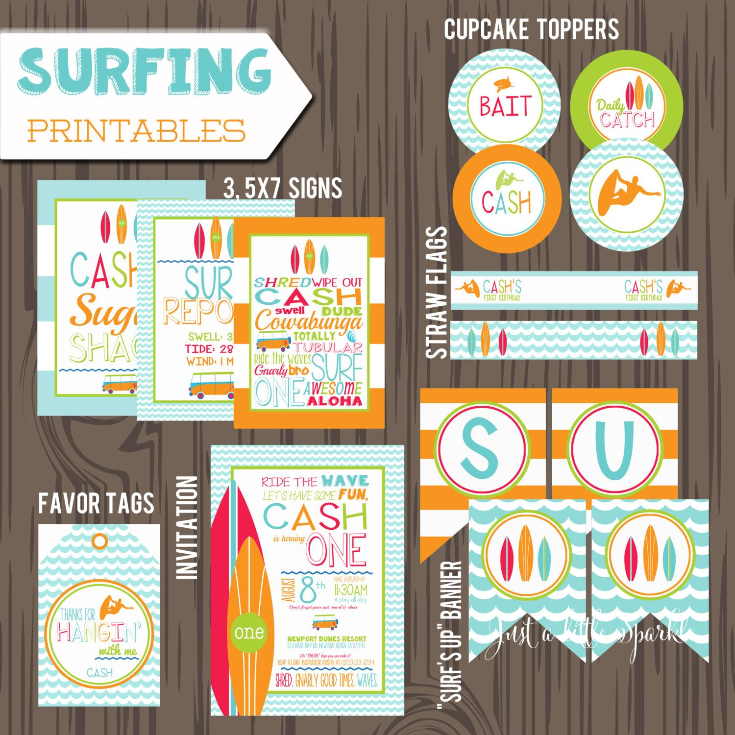 Surfing birthday party set, Surfing party printables, Surf Party ...