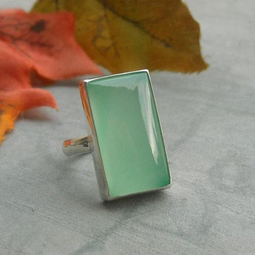 Sea foam green Chalcedony ring, rectangle,Chalcedony Ring,Chalcedony jewelry,sterling silver,handmade size 7