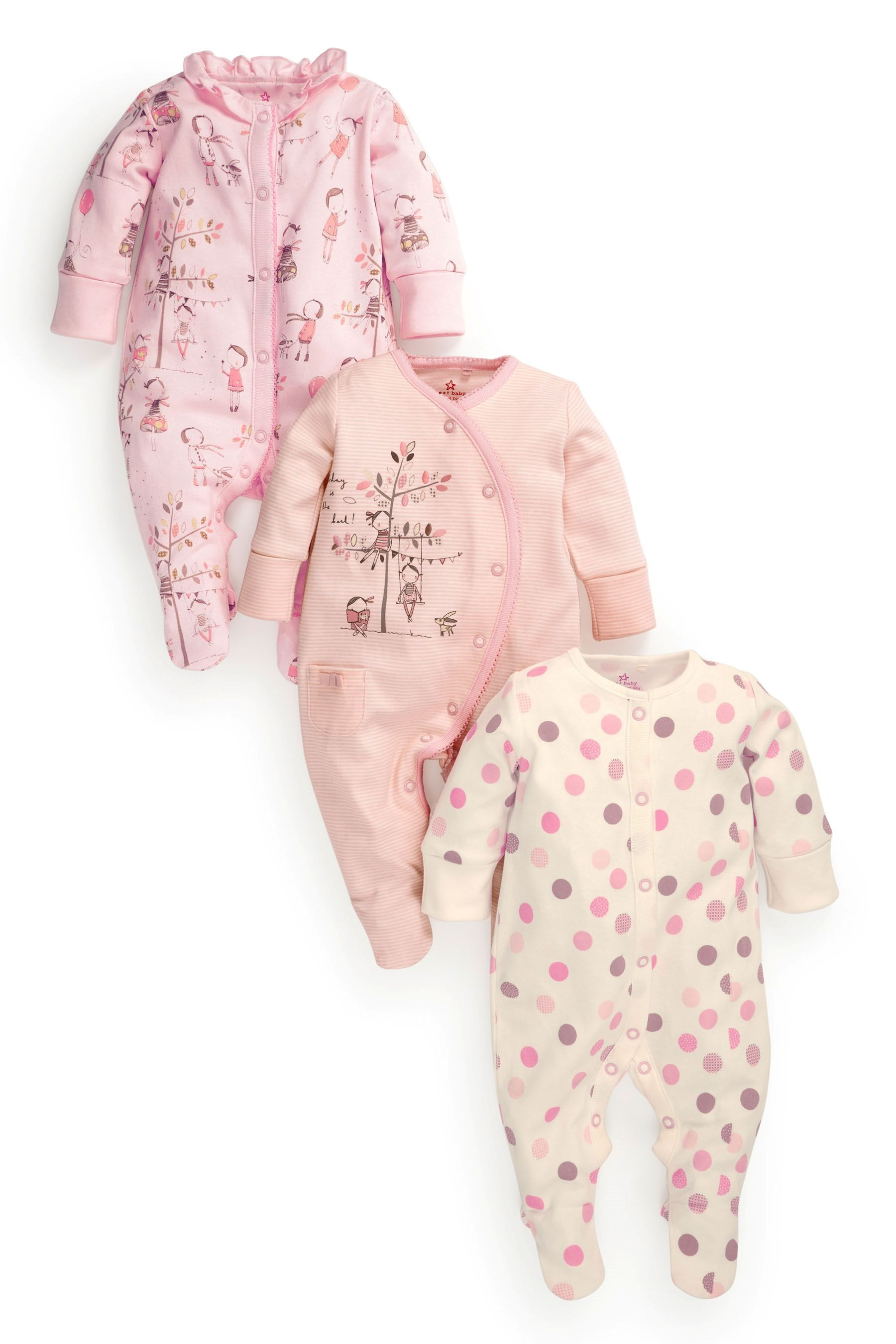 3724b34e1 Buy Pink Character Sleepsuits Three Pack (0mths-2yrs) from the Next UK online  shop