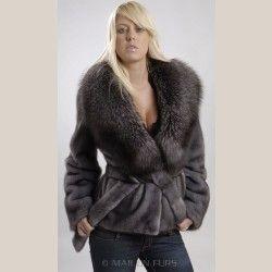 Blue Iris Mink Fur Jacket with Blue Frost Fox collar