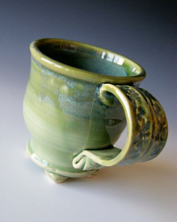 I Love Textured Handles Pottery Coffee Mug Handmade Wheel