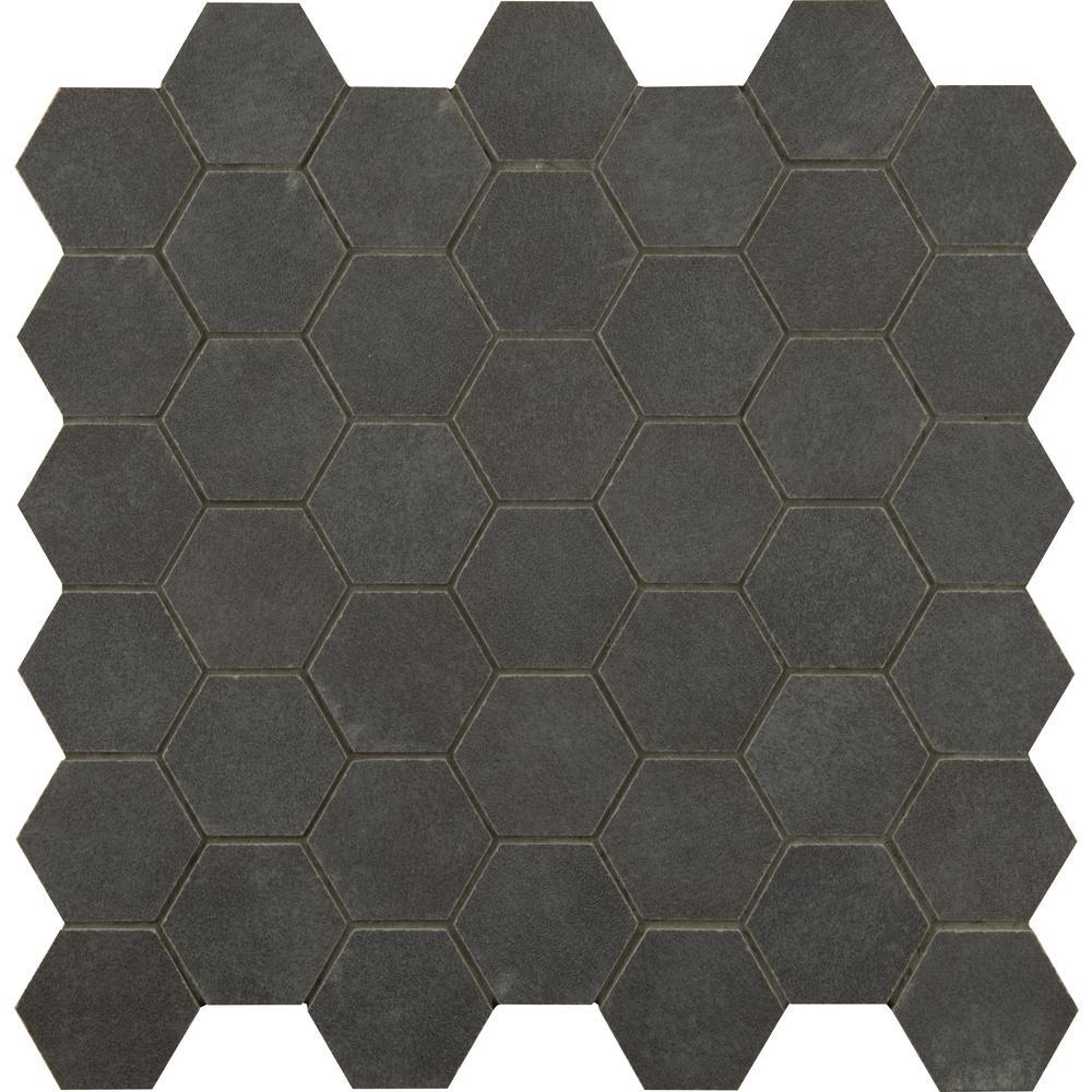 Msi Metro Anthracite Hexagon 12 In X 12 In X 10mm Matte Porcelain Mesh Mounted Mosaic Tile 1 Sq Ft Nhdme Mosaic Shower Tile Mosaic Tiles Hexagonal Mosaic