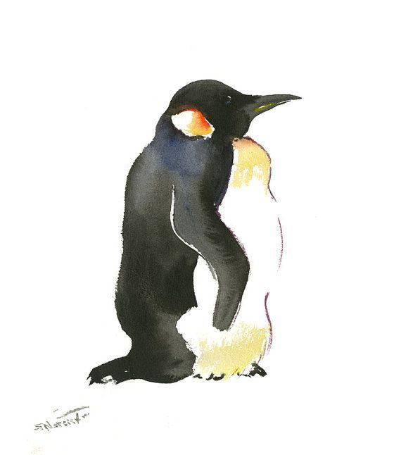 Children art Emporer Penguin, Original watercolor painting, 9 X 10 in, black and white nursery art, childrne room, penguin painting