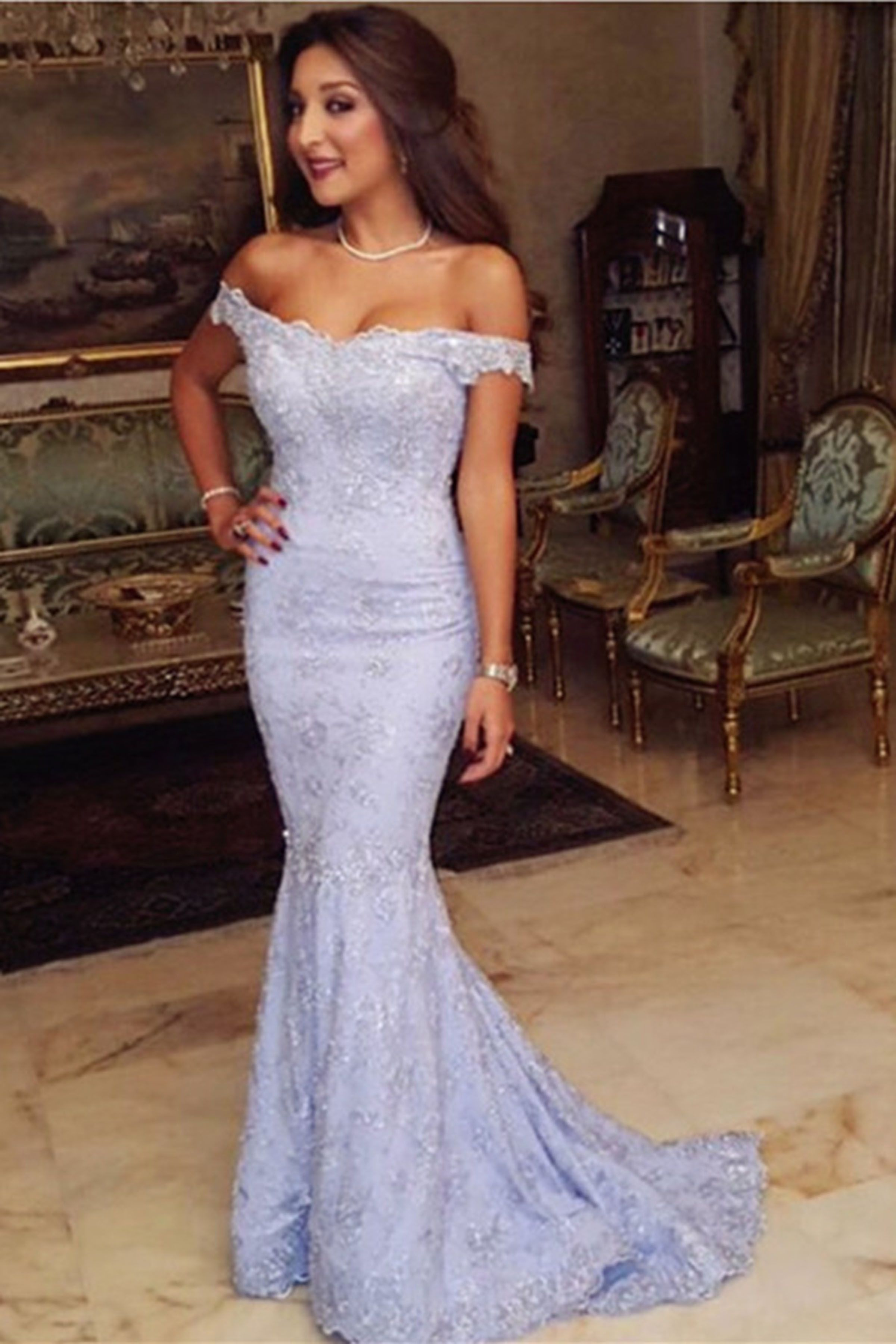 Cute lace appliques off shoulder long mermaid prom dress fashoin