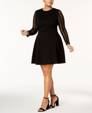 Soprano Trendy Plus Size Lace Sleeve Fit & Flare Dress Black 1X