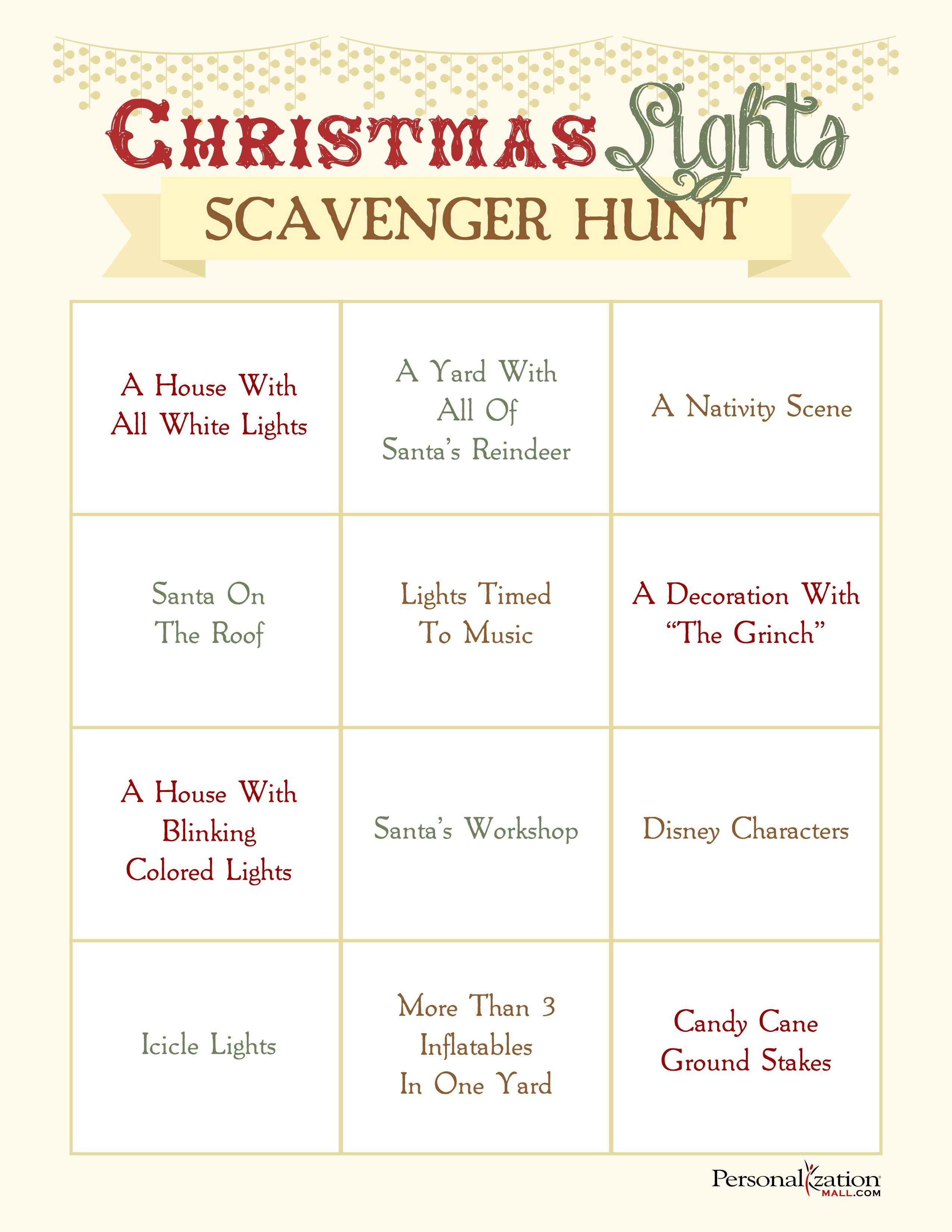 christmas party scavenger hunt ideas