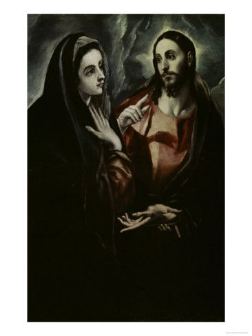 "Christ Bids Farewell To His Mother by El Greco. I absolutely love this painting -- I love how natural they both look. I love how it looks like she could be saying ""Now, son, I know you have important work to do but don't forget to change your underwear and brush your teeth,"" and how it looks like he could be saying, ""I KNOW, MOM!"" but it's totally affectionate on both their parts."