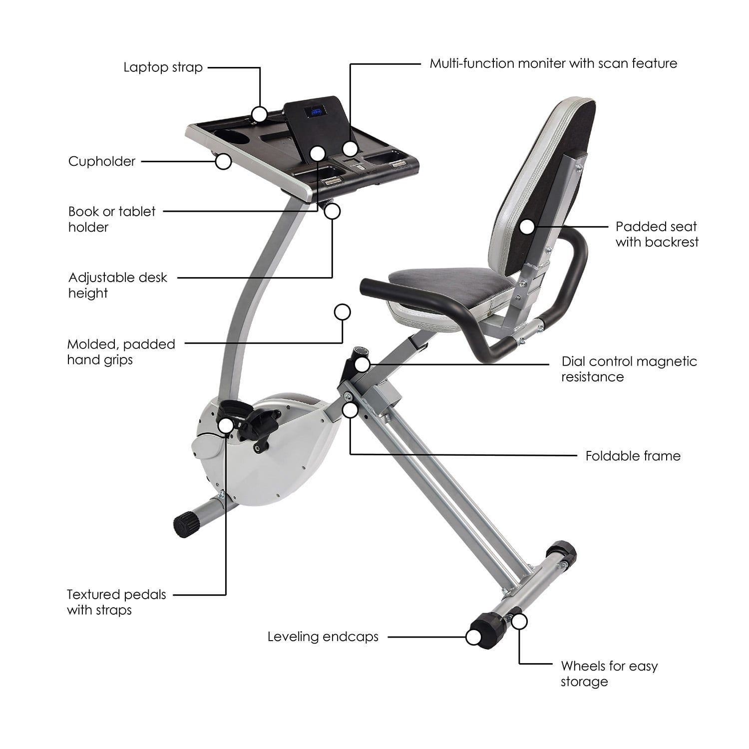 Stamina 2 In 1 Recumbent Exercise Bike Workstation Standing Desk