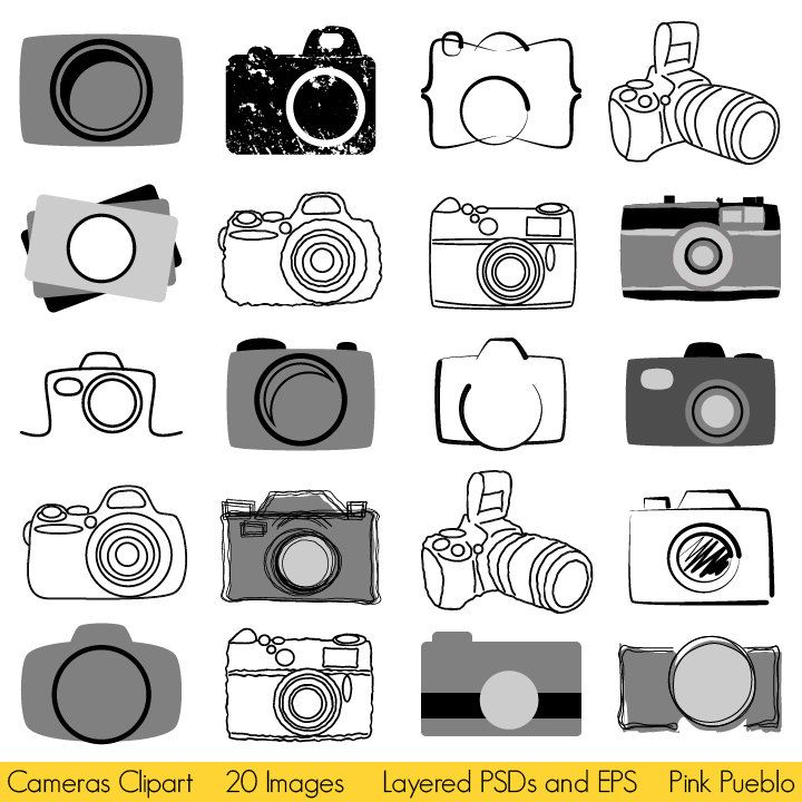 Cameras Clipart Photography Logo Elements Layered Editable Psds And Vectors 8 00 Via Etsy Photography Logo Design Photography Logos Camera Logo