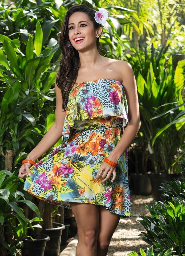 Vestido Tomara que Caia Mix Estampas - Posthaus