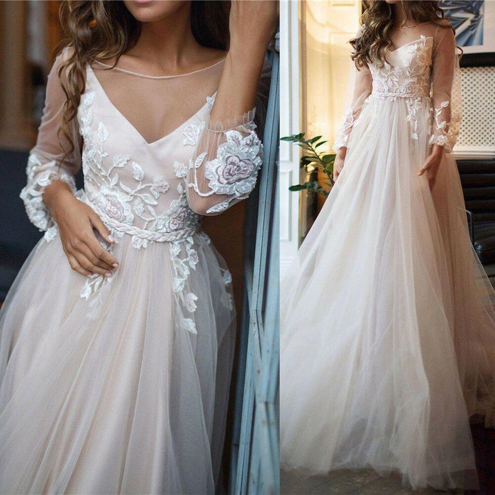 eBay Ad) V Neck Long Sleeve Bohemian Wedding Dress Flowers