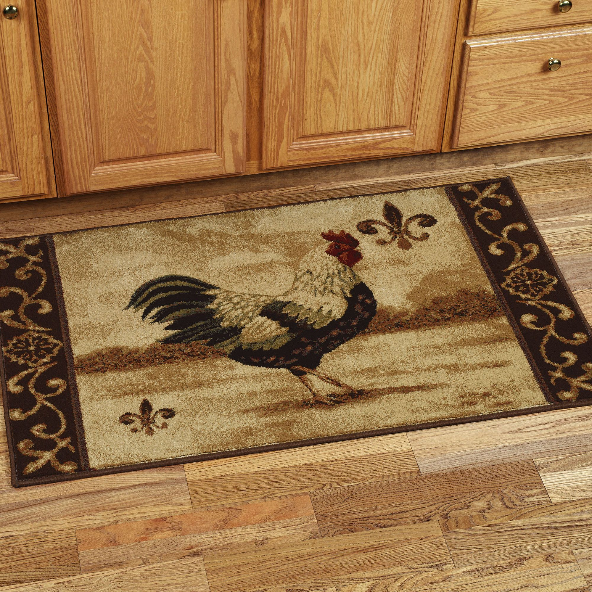 Rooster Kitchen Rugs French Country Harvest Nin Holder Copper 17 99