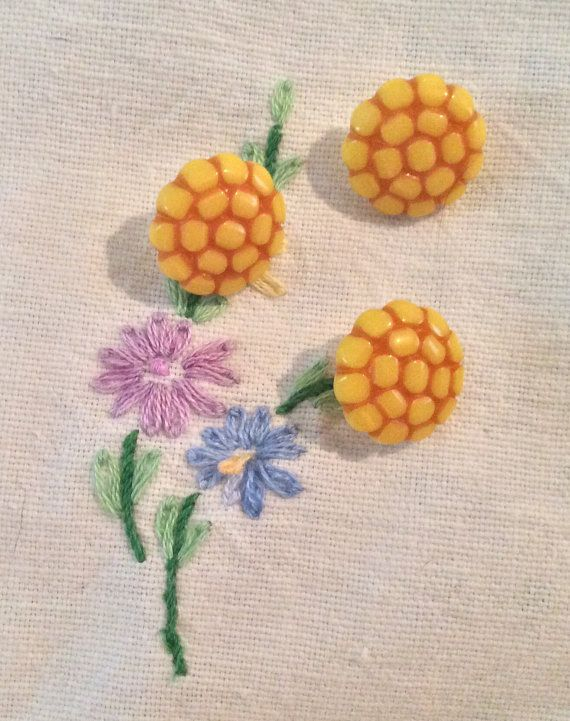 Three yellow plastic buttons yellow buttons by RosiesButtons