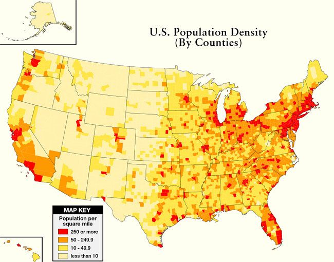 If You Live In The Red Zone Or Even The Orange Zone Your Best - Us population density map by state