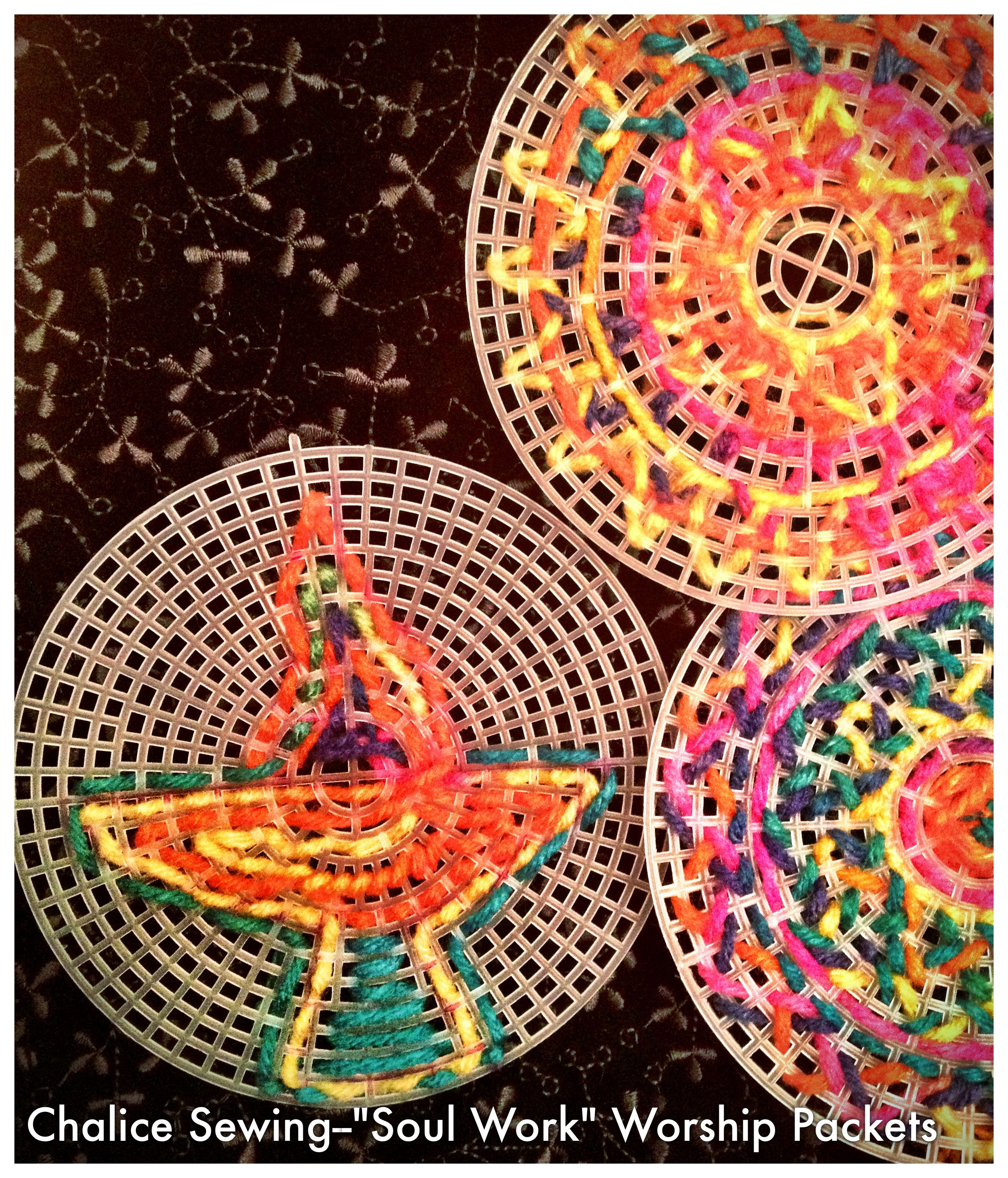 Plastic Canvases With Rainbow Yarn And Plastic Needles