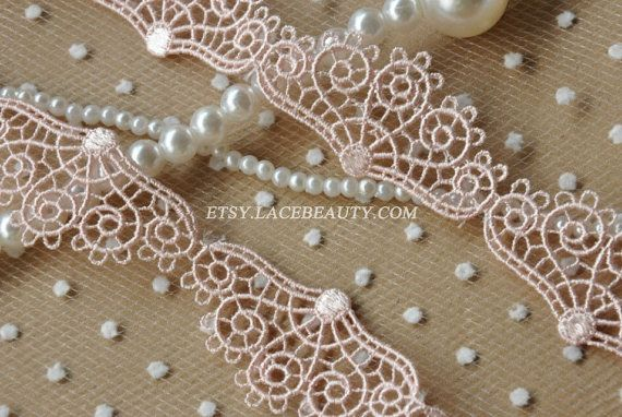 Lovely Pink Venice lace Peacock Embroidered Lace Trim 1.1 Inches Wide 3 Yards