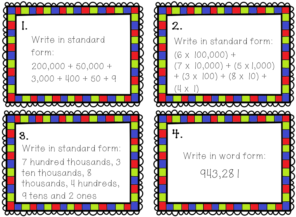 standard form 24 ten thousands  Place Value Task Cards 7 7-and 7-digit Place Value Task ...