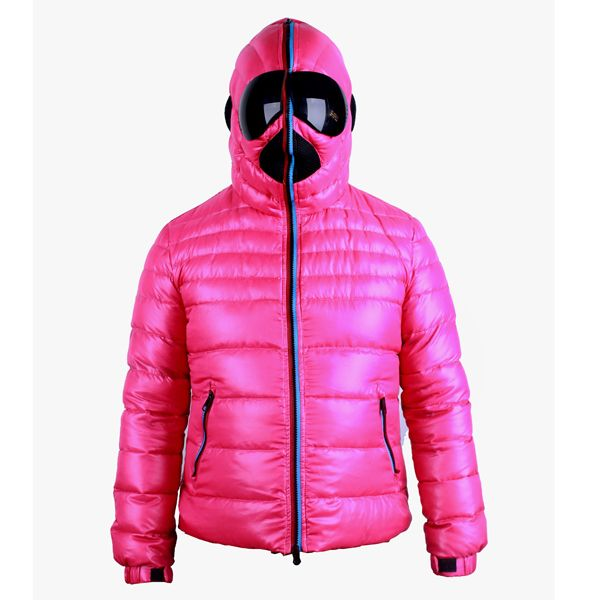 Fuchsia Pink long sleeve Zipper Hooded Nylon Down Jacket | Down