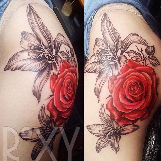 Big Rose and Lilies Thigh and Bum Tattoo  #rose #rosetattoo #lily #lilytattoo #flowers #flowertattoo #floraltattoo #floral #femaletattooartist #instaink #instauk #ukartist #customartist #femaleartist #londonink #londonartist #londontattoo #londontattoostudio #london #thightattoo #inkedup #inkaddicts #ink #cheyenneink #swashdrivetattoomachines #tattoo #tattoosforwomen #tattoosforever