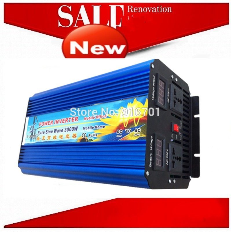 Inverseur De Panneau Solaire Solar Panel Inverter 3000w Pure Sine Wave Power Inversor Dc 12v To Ac 220v 6000w Peak Power Solar Power Inverter Solar Panel Inverter Green Energy